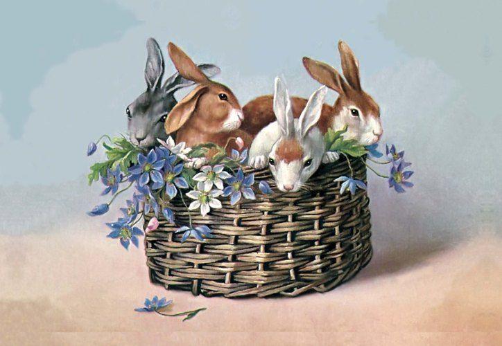 картинки для декупажа зайцы винтаж сочетании темным