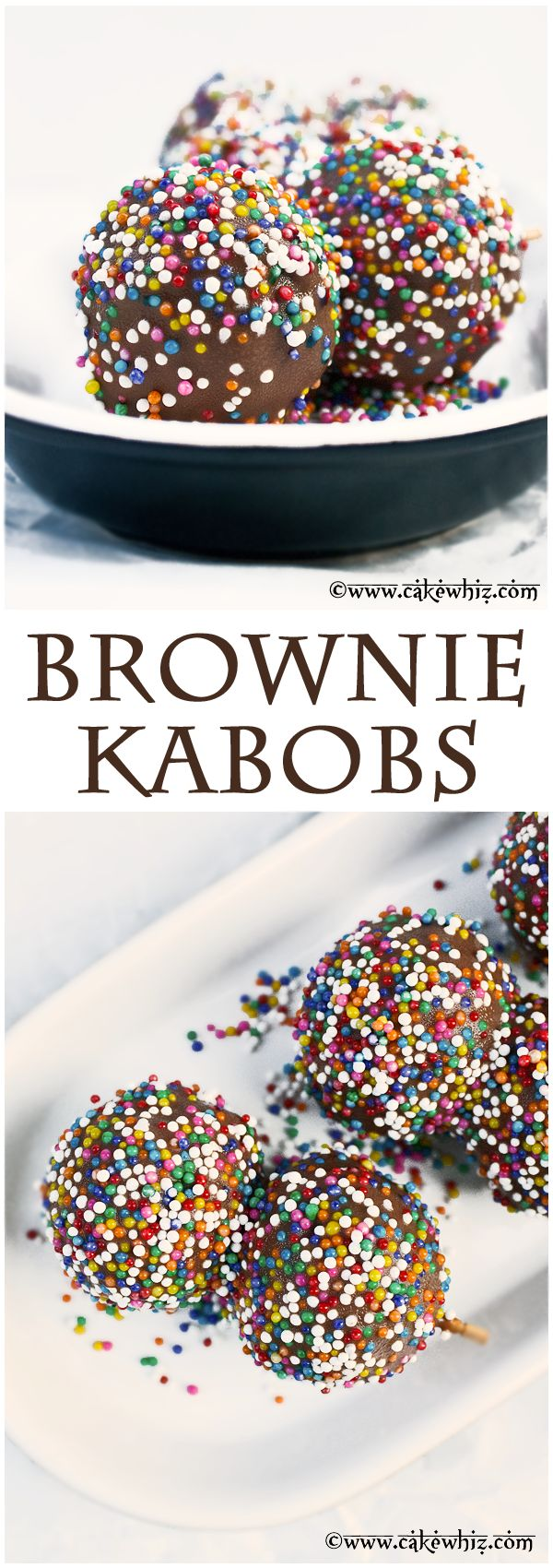 Bite sized BROWNIE KABOBS loaded with melted chocolate and covered in colorful sprinkles! Soft, fudgy, and chocolicious! From cakewhiz.com