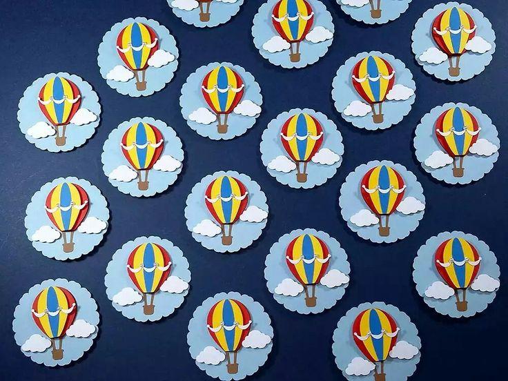 Tag para decorar sua festinha no tema balão, tema volta ao mundo, tema parque de diversões.