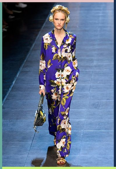 Floral pyjama suit showcased on the Dolce & Gabbana SS16 catwalk