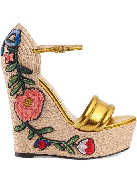 511502506aa GUCCI Embroidered metallic leather platform espadrilles.  gucci  shoes
