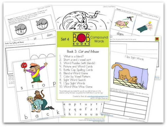 FREE BOB Book Printables: Set 4, Books 3 (Cat and Mouse) and 4 (The Swimmers) | This Reading Mama