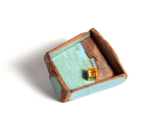 """Jorge Castanon - """"The Yellow box"""". Brooch. Found Wood, 24 karat gold, sterling silver and steel. Constructed."""