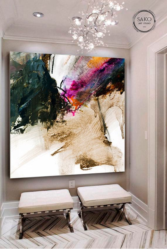 Large Original Abstract Oil Painting Extra Large Wall Art Hand