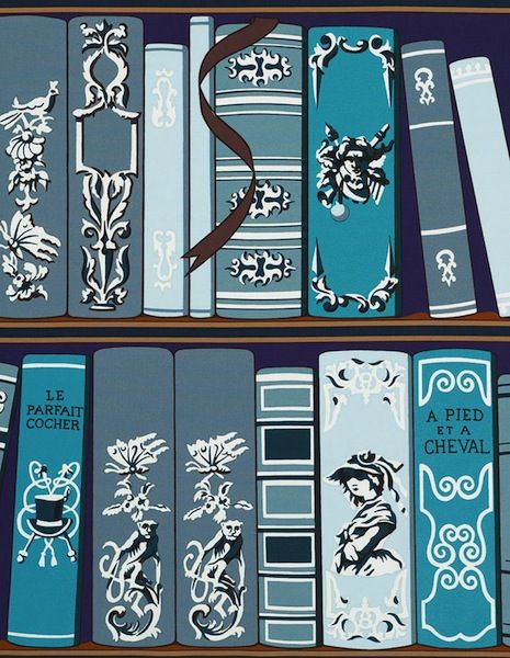 young and battaglia bookshelf wallpaper | Pierre Herme Memoires Fabric