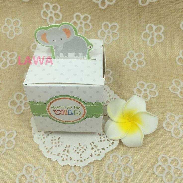 Ucuz Ücretsiz kargo 50 adet Rainforest Hayvan düğün Şeker Kutuları bebek duş hediyelik eşya Hediye Kutusu fil…