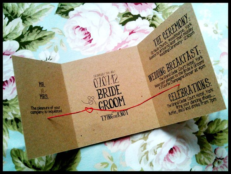 Handmade 'Tying the knot' customized Rustic Simple Eco wedding invites DIY or Template. £1.60, via Etsy.