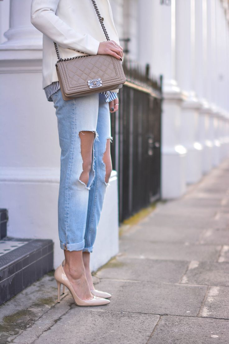 EJSTYLE - river island ripped boyfriend jeans, forever 21 white blazer, mink chanel boy bag, nude heels