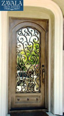 Wrought Iron Entry Doors, Single Door SD38003