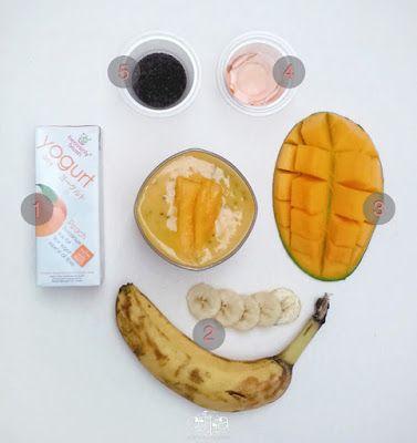 Manfaat yoghurt Heavenly Blush untuk kesehatan salah satunya yaitu yoghurt dapat dijadikan bahan tambahan untuk resep 'Mango Banana Peach' smoothie.