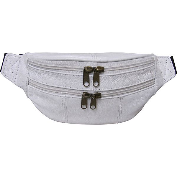 AmeriLeather Leather Fanny Pack - White - Waistpacks ($24) ❤ liked on Polyvore featuring bags, white, white bag, white fanny pack, lightweight bags, bum bag and fanny bag