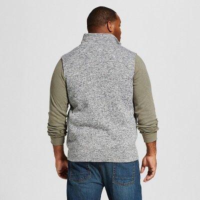 Men's Big & Tall Sweater Fleece Vest Gray XL Tall - Merona, Size: Xlt