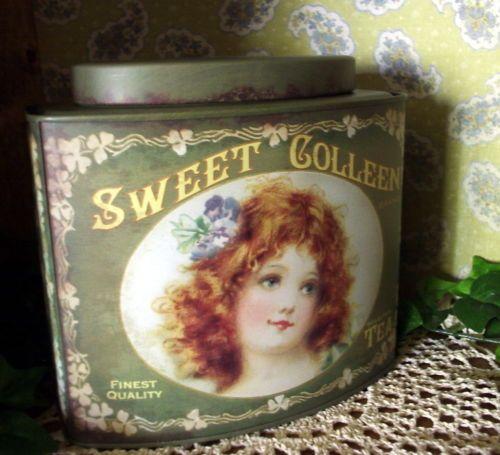 Vintage Style Irish Tea Tin Sweet Colleen Brand Advertising Canister Kitchen   eBay