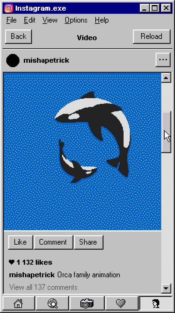 약 20년 전, 우리의 책상 위에는 큼지막한 CRT 모니터가 놓여 있었는데요. 지금도 많은 이들이 윈도우 95의 각진 UI와 투박한 그래픽을 기억하고 있을 겁니다. 아티스트 미샤 페트릭은 8비트 그래픽과 픽셀화된 세리프 체, 청록색의 바탕화면 등 익숙한 요소를 통해 오늘날의 인스타그램을 20년 전으로 완벽하게 돌려 놓았습니다.