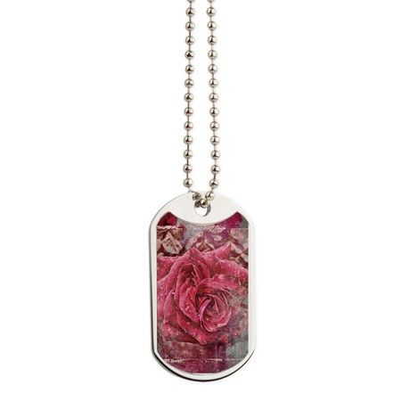 Pink Rose Dog Tags by AngelEowyn. $22.50