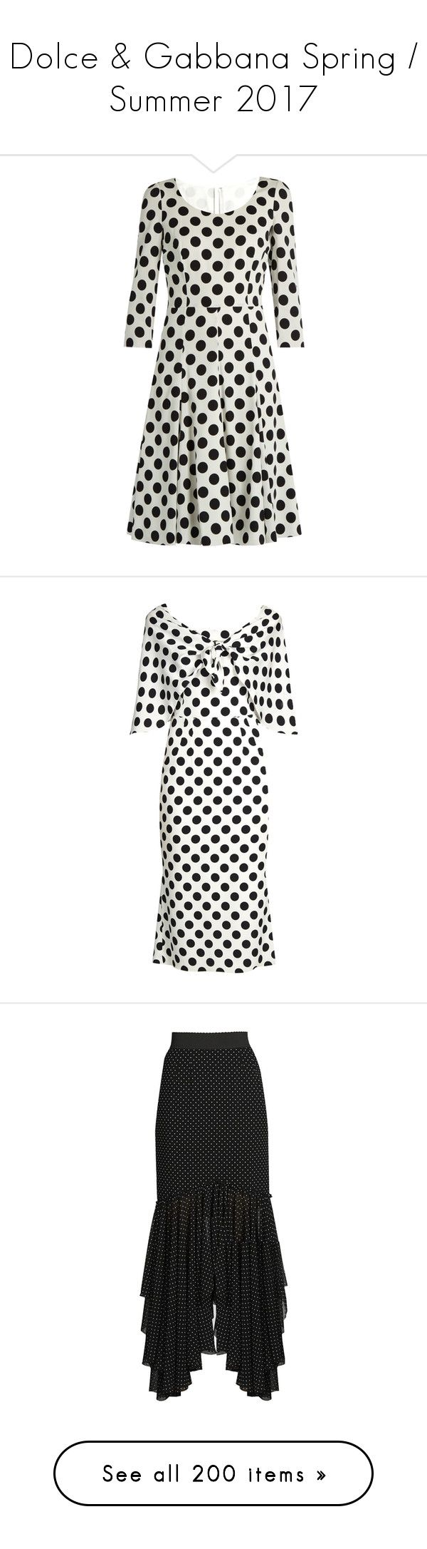 """""""Dolce & Gabbana Spring / Summer 2017"""" by rizqia97 ❤ liked on Polyvore featuring dresses, white multi, polka dot cocktail dress, knee length evening dresses, white flare dress, cocktail dresses, knee length cocktail dresses, retro white dress, white dress and print dresses"""