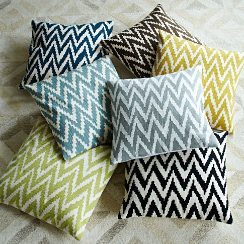 Chevron Crewel Pillow Covers #west elm. I like all the colors!