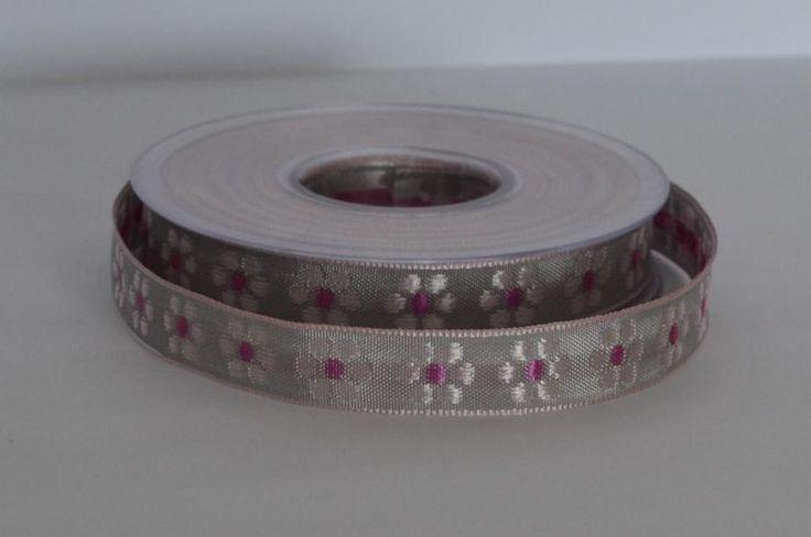 Wstążka+tasiemka-rożowe+kwiaty+15mm-+stokrotki+w+Anita-+Home&+Design+na+DaWanda.com