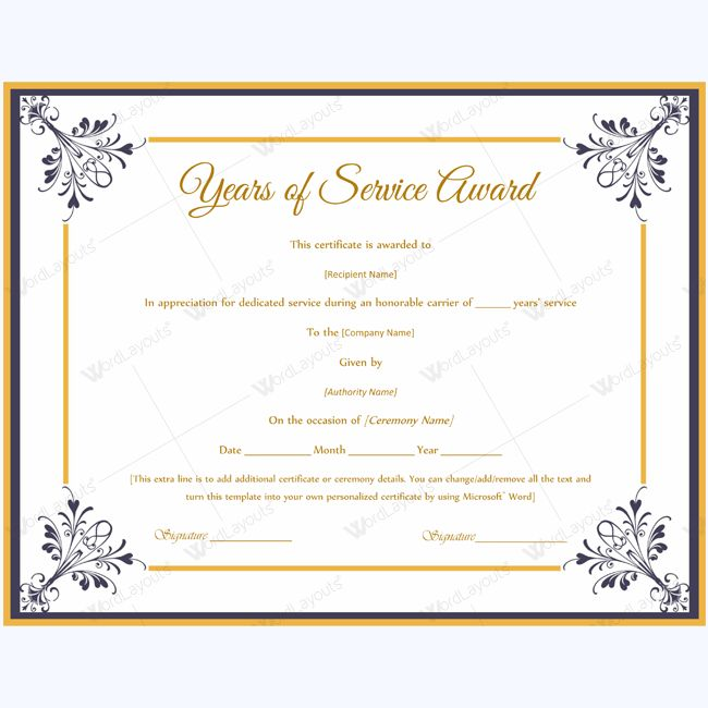 13 best Years of Service Award images on Pinterest Award - certificate template doc