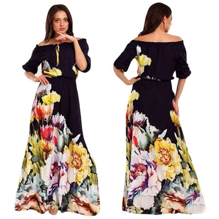 Fashion Women Off Shoulder Half Sleeve Dress Floral Sexy Women Party Long Dress  #Unbranded #EmpireWaist #Casual