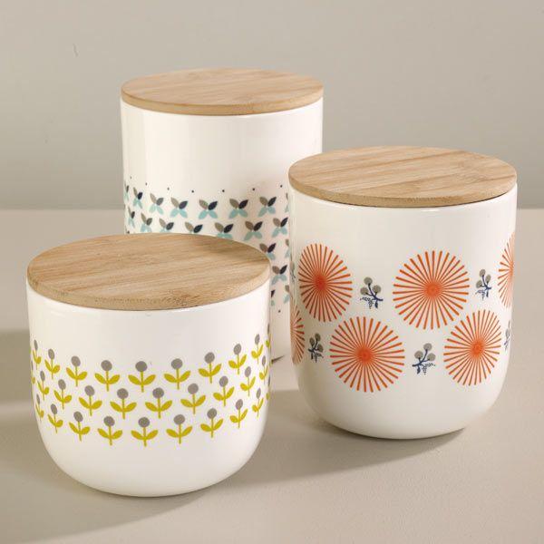 Pots Mr & Mrs Clynk - Pots en porcelaine couvercle en bois