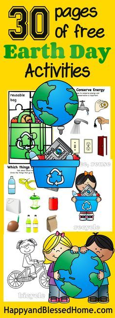 Free Kindergarten Holiday Worksheets:  30 Pages of Free Earth Day Activities for Kids with FREE Earth Day worksheets with puzzles, coloring, recycle sorting and more from HappyandBlessedHome.com