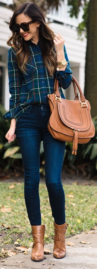 Dark Denim + Plaid Top With Pops Of Red