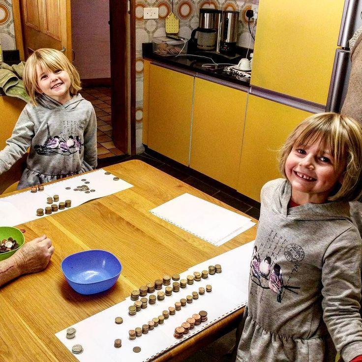 School today: open money tins clean sort and count.  #FarleyFarmGirls #FarleyFarmLife