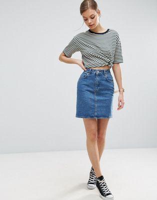 ASOS Denim Original High Waisted Skirt in Mid Wash Blue