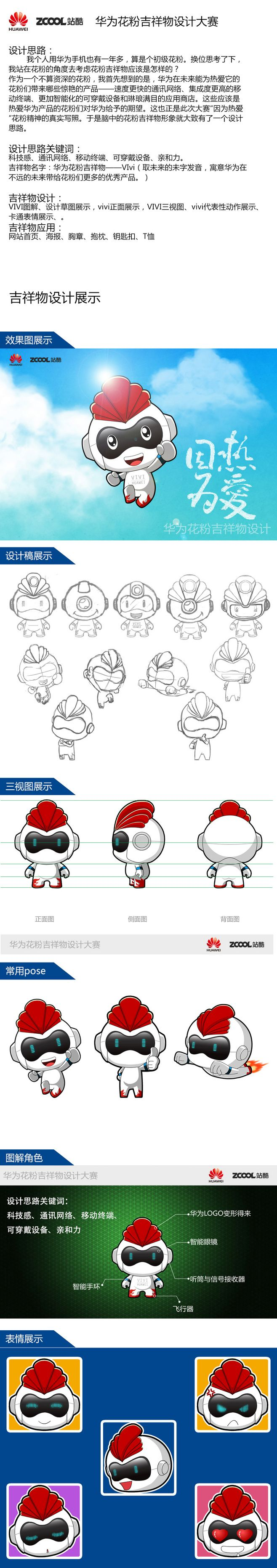 华为花粉吉祥物设计大赛——Vivi|VI...