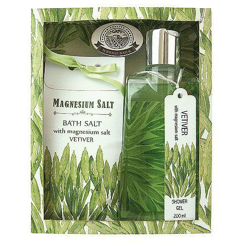 Bohemia Natur - kosmetika s magneziovou solí a vůní vetiveru. Dárkové balení - sprchový gel 200 ml a koupelová sůl 150 g.
