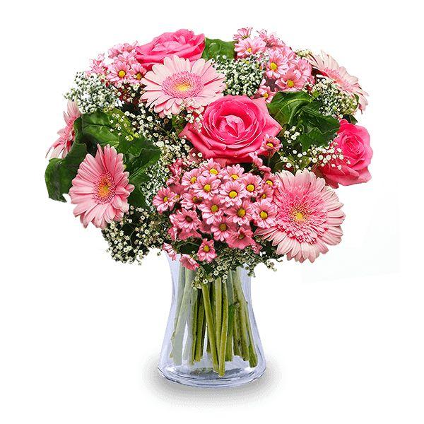 Envía un ramo de rosas y gerberas rosas para felicitar a una persona especial en un día importante. Tus flores frescas a domicilio con FloraQueen.
