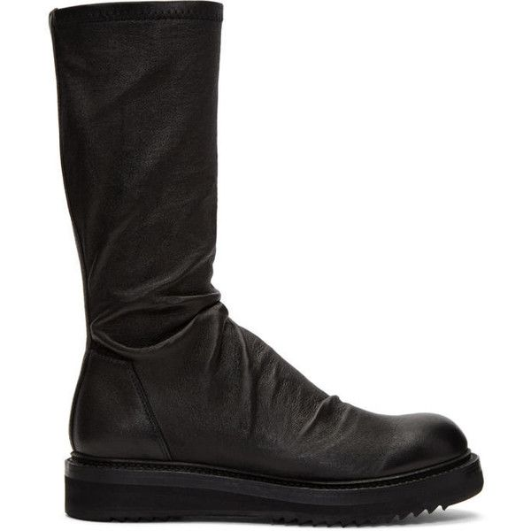 Rick Owens Black Creeper Sock Boots ($1,485) ❤ liked on Polyvore featuring shoes, boots, black, mid-calf boots, leather shoes, creeper boots, black leather boots and leather boots
