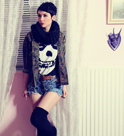 Jacket, Misfits Shirt, Levi's Hotpants   Mommy can i go out and kill tonight? (by Nora Lovely)   LOOKBOOK.nu