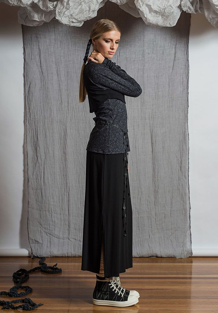 Emma skirt black – Sustainable Fashion Australian made bamboo jersey. All Rant Clothing garments are ethically made in Brisbane Australia.  Sustainable Fashion