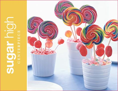 "Lollipop Centerpieces - I love how adorable and easy this next idea is… ""Sugar High"" – fittingly designed by Dylan Lauren of Dylan's Candy Bar – features unwrapped whirly pops and suckers sprouting from a bed of candies. (The white flower pots are from IKEA.)"