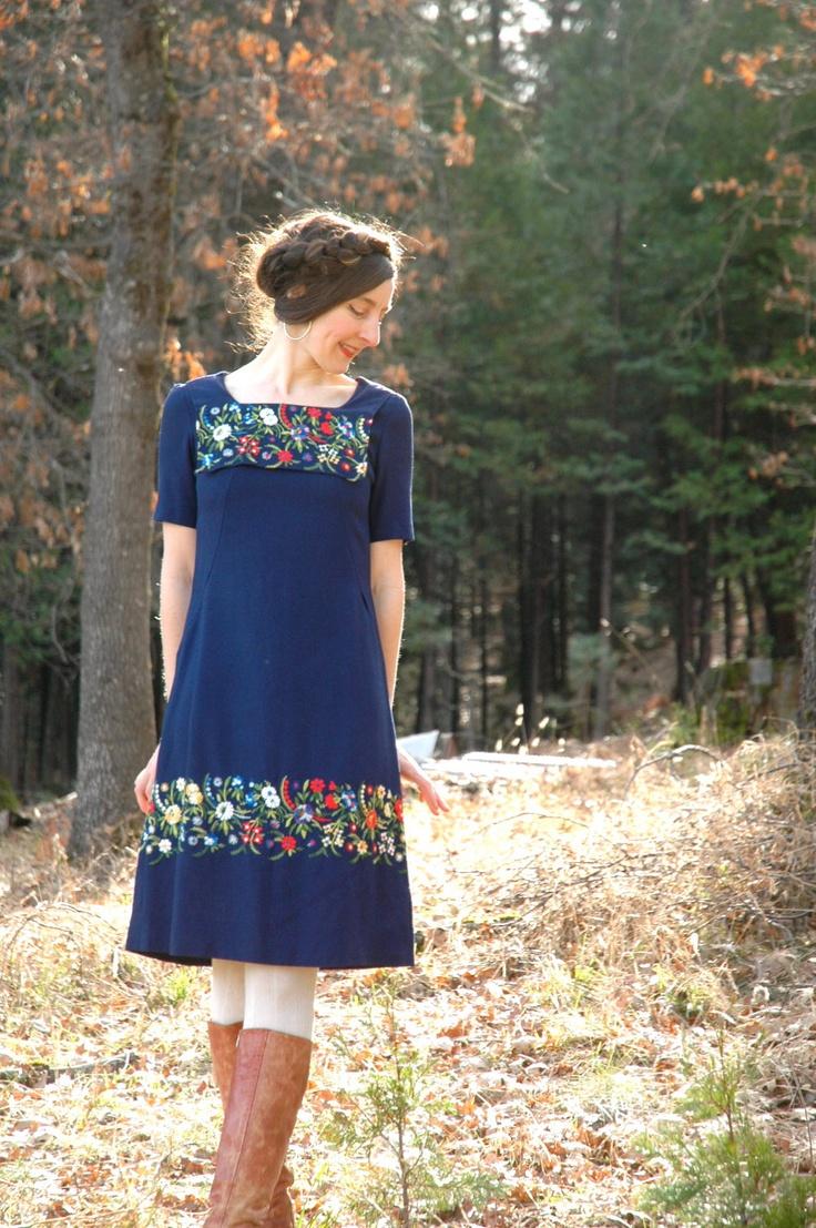 Vintage Folk Dress... Elaborate Embroidery... Navy Blue... GATHERING FLOWERS (xs). $58.00, via Etsy.
