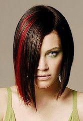 cabello corto negro mecha roja - Buscar con Google