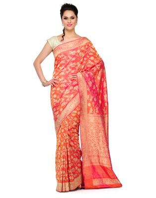 Maroon shikargah work slik banarasi saree hand woven with blouse