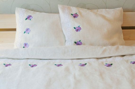 100% Linen Bedding Set 4 pcs, Handmade, Single/Twin/Junior Bed Linen Set, White - Sheet, Duvet Cover, 2 Pillowcases - Embroidered with Lace by NaturalHomeTreasures on Etsy, $319.00