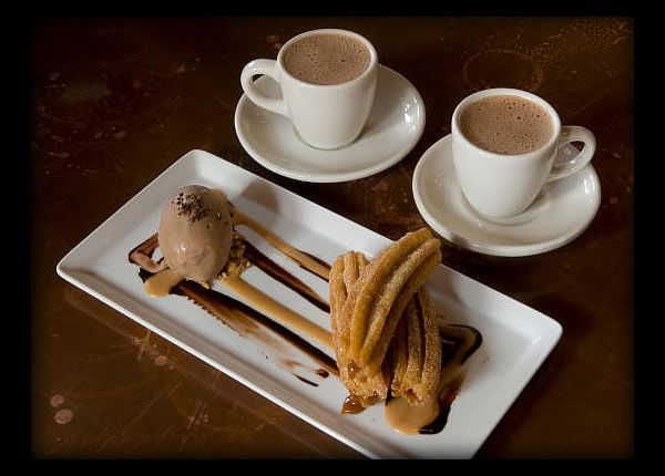 dulce de leche stuffed churros with Mexican hot chocolate from Hugo's Restaurant in Houston, TX