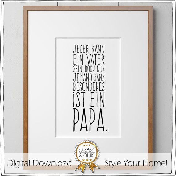 Papa Vater Spruch Printable mit Geschenkanhänger von animoARTshop