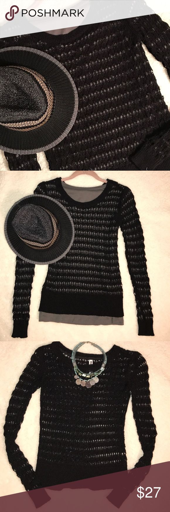 """Aeropostale long sleeve black crochet sweater top. Aeropostale black crochet sweater. Soo cute with a cami or other long sleeve shirts with jeans and skirts. Photos show with and without camisole. Label says XS but fits more like a larger small if there is such a thing. 😎 Length from neck shoulder area is 22"""". Sleeve length from shoulder 24 1/2"""". Lots of stretch to it. 48% acrylic 27% cotton 15% nylon 10% polyester. Machine wash cold. Great pre-owned condition. 💖 Aeropostale Sweaters Crew…"""