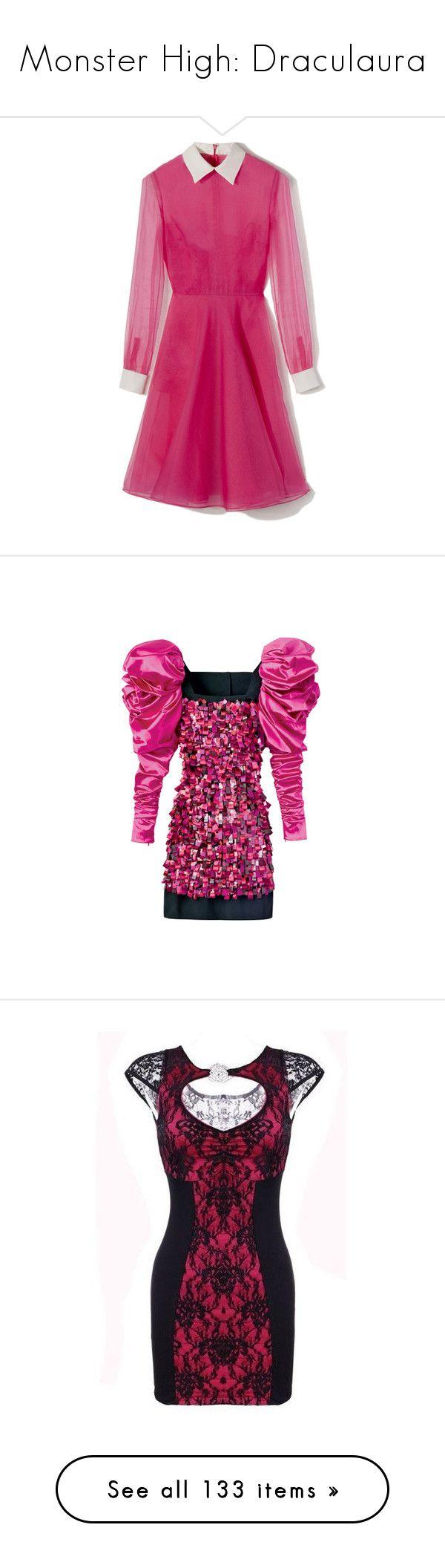 """Monster High: Draculaura"" by jordankayleigh ❤ liked on Polyvore featuring MonsterHigh, draculaura, dresses, vestidos, valentino, pink dress, pink bustier, shirt dress, bustier dress and pink shirt dress"