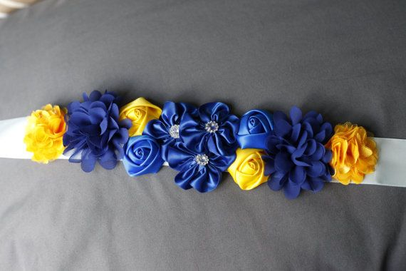 Blue Maternity Sash Blue and yellow Baby Shower by CreationsMCA