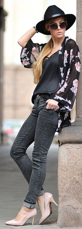 h&m Black Floral Kimono. I just bought this kimono. Thanks for the outfit inspiration!