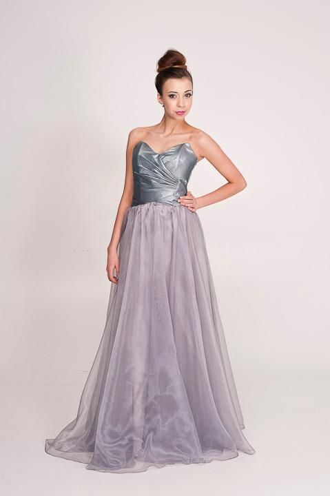 Candice: Crossover strapless bodice with pleated detail and lace up back. Perth designer of bridesmaid dress, ball gowns and evening wear