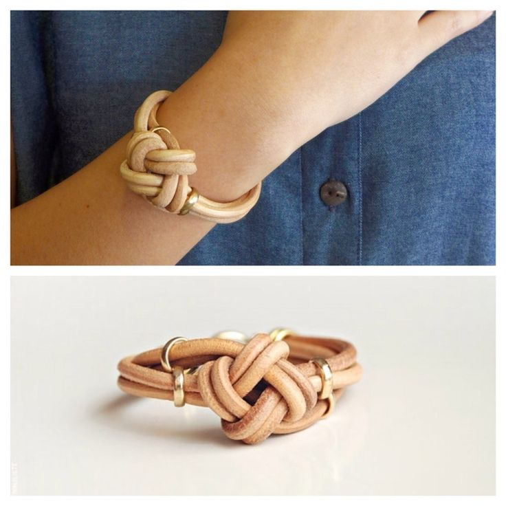 A dainty genuine leather bracelet with a handmade nautical knot and golden accents