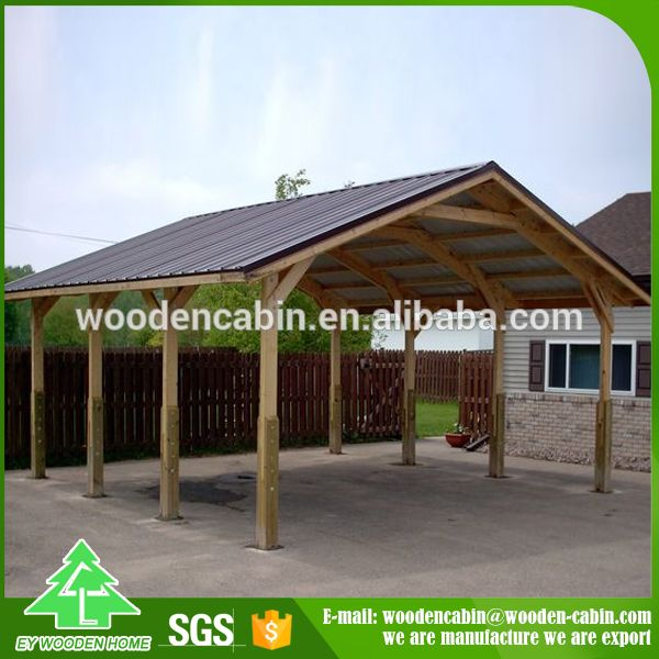 Source cheap price prefab wooden carport 2 car wooden for Detached garage with carport