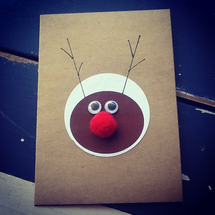 Handmade Rudolph Christmas Card
